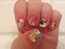 A Christmas-in-the-tropics glittery gradient inspired by a mini putt course at Disney World.