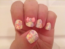 Dainty nail art inspired by one of the dresses Gisele makes out of curtains in the movie Enchanted.