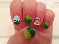 Kermit the Frog inspired nails.