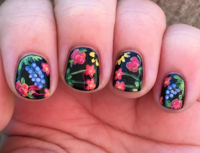 Black Floral Fingers Front