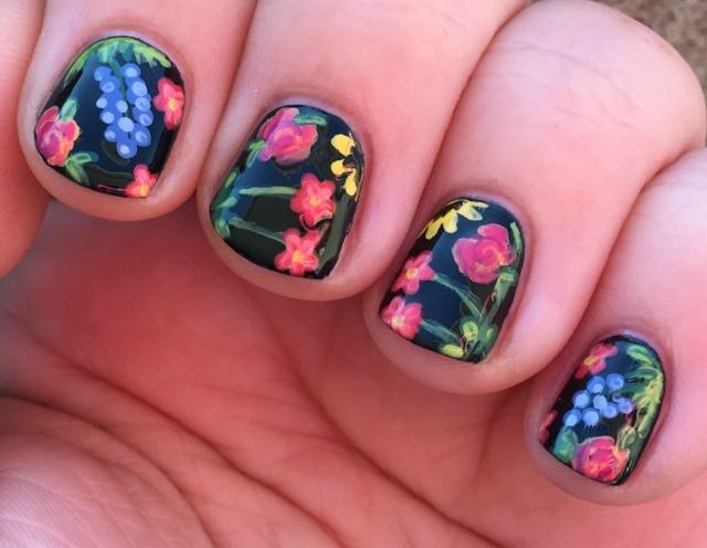 Black Floral Fingers Side